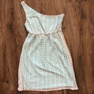 Judith March One Shoulder Teal Lace Dress Small s